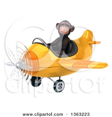 Clipart of a 3d Chimpanzee Monkey Aviator Pilot Flying a Yellow Airplane, on a White Background - Royalty Free Illustration by Julos
