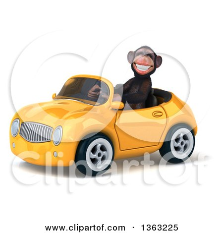Clipart of a 3d Chimpanzee Monkey Driving a Yellow Convertible Car, on a White Background - Royalty Free Illustration by Julos
