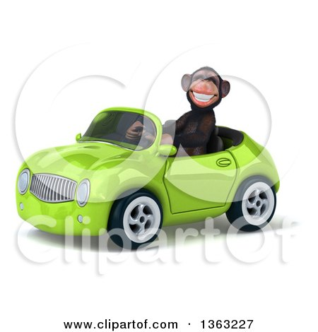 Clipart of a 3d Chimpanzee Monkey Driving a Green Convertible Car, on a White Background - Royalty Free Illustration by Julos