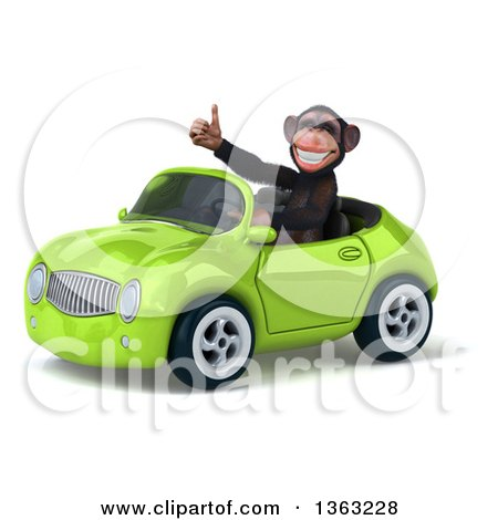 Clipart of a 3d Chimpanzee Monkey Giving a Thumb up and Driving a Green Convertible Car, on a White Background - Royalty Free Illustration by Julos