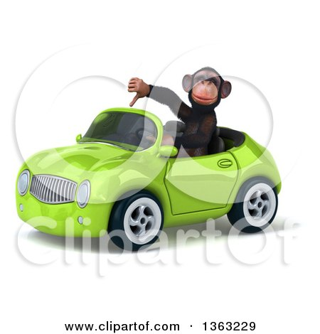 Clipart of a 3d Chimpanzee Monkey Giving a Thumb down and Driving a Green Convertible Car, on a White Background - Royalty Free Illustration by Julos