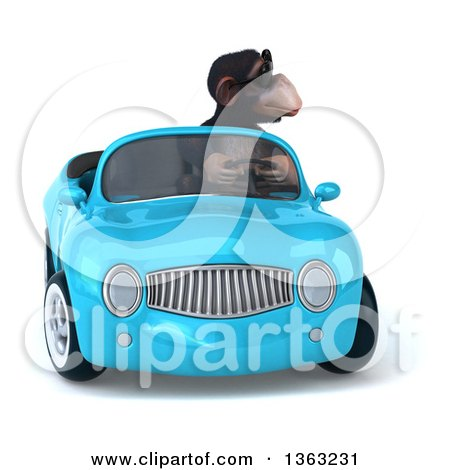 Clipart of a 3d Chimpanzee Monkey Wearing Sunglasses and Driving a Blue Convertible Car, on a White Background - Royalty Free Illustration by Julos