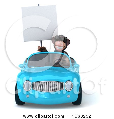 Clipart of a 3d Chimpanzee Monkey Wearing Sunglasses, Holding a Blank Sign and Driving a Blue Convertible Car, on a White Background - Royalty Free Illustration by Julos