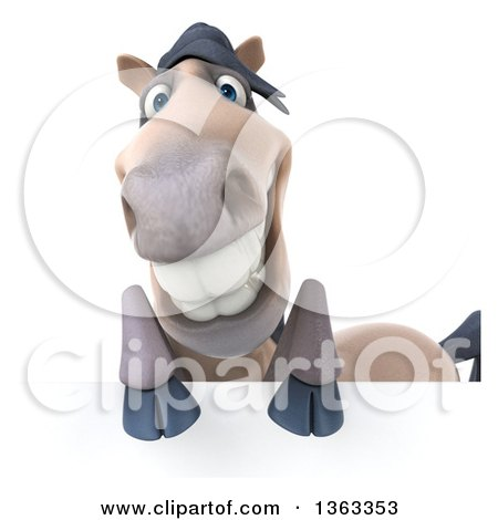Clipart of a 3d Happy Beige Horse over a Sign, on a White Background - Royalty Free Illustration by Julos