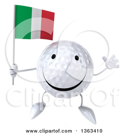 Clipart of a 3d Happy Golf Ball Character Jumping and Holding an Italian Flag, on a White Background - Royalty Free Illustration by Julos