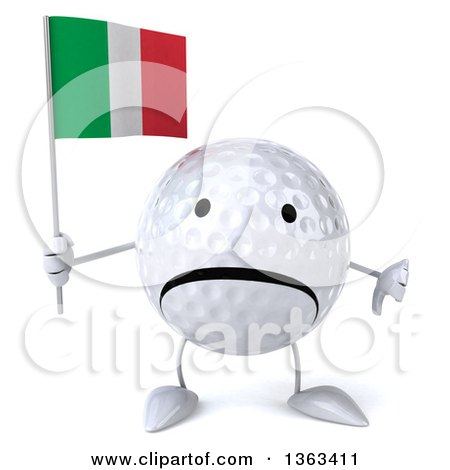 Clipart of a 3d Unhappy Golf Ball Character Giving a Thumb down and Holding an Italian Flag, on a White Background - Royalty Free Illustration by Julos