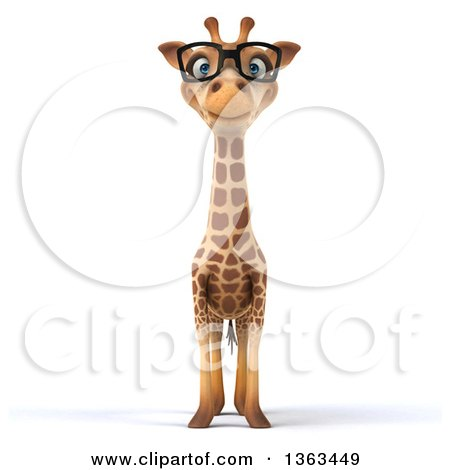 Clipart of a 3d Bespectacled Giraffe, on a White Background - Royalty Free Illustration by Julos