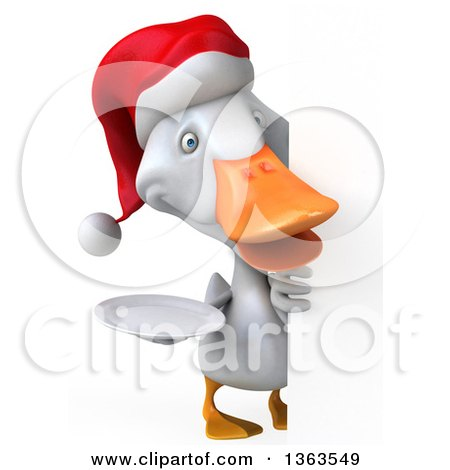 Clipart of a 3d White Christmas Duck Holding a Plate Around a Sign, on a White Background - Royalty Free Illustration by Julos