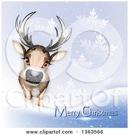Clipart of a Cute Reindeer with Merry Christmas Text in the Snow - Royalty Free Vector Illustration by Oligo
