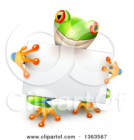 Clipart of a Cute Colorful Tree Frog Holding a Blank White Sign Board - Royalty Free Vector Illustration by Oligo