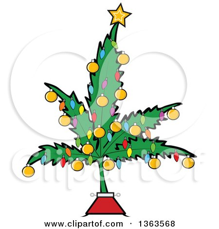 Cartoon Marijuana Pot Leaf Weed Christmas Tree Decorated with a Star, Lights and Baubles Posters, Art Prints