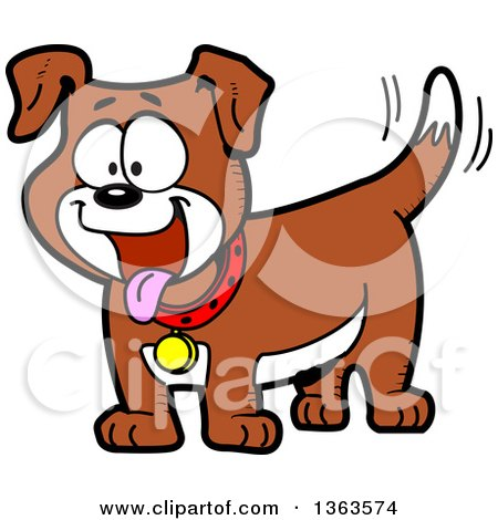 Clipart of a Cartoon Happy Brown and White Dog Panting and Wagging His Tail - Royalty Free Vector Illustration by Clip Art Mascots