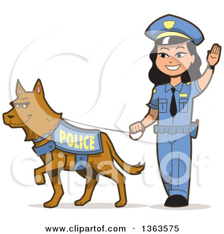 Clipart of a Friendly Asian Police Woman Walking a K 9 Police Dog - Royalty Free Vector Illustration by Clip Art Mascots