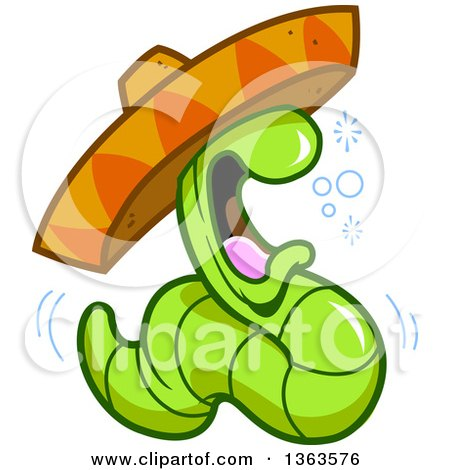 Clipart of a Cartoon Drunk Tequila Worm Wearing a Mexican Sombrero Hat - Royalty Free Vector Illustration by Clip Art Mascots