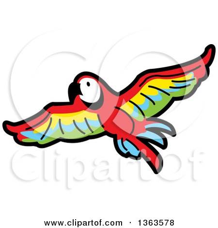 Clipart of a Cartoon Flying Scarlet Macaw Parrot in Flight - Royalty Free Vector Illustration by Clip Art Mascots