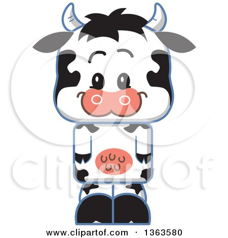 Clipart of a Cartoon Happy Cute Cow - Royalty Free Vector Illustration by Clip Art Mascots