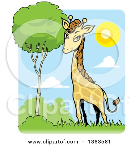 Clipart of a Cartoon Giraffe by a Tree on a Sunny Day - Royalty Free Vector Illustration by Clip Art Mascots
