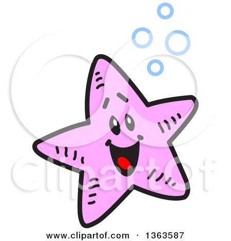 Clipart of a Cartoon Happy Pink Starfish with Bubbles - Royalty Free Vector Illustration by Clip Art Mascots