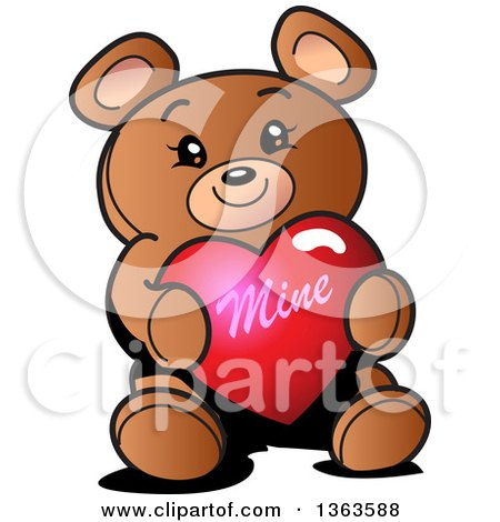 Clipart of a Cartoon Teddy Bear Holding a Mine Valentines Day Heart - Royalty Free Vector Illustration by Clip Art Mascots