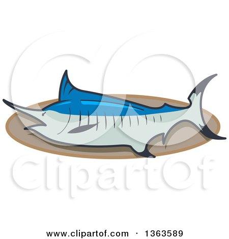Clipart of a Cartoon Mounted Trophy Marlin Swordfish on a Plaque - Royalty Free Vector Illustration by Clip Art Mascots