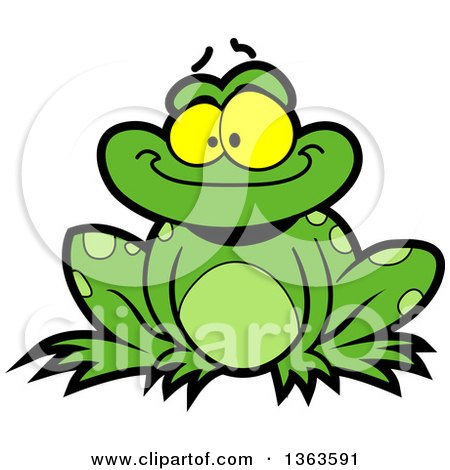 Clipart of a Cartoon Happy Green Frog Sitting and Smiling - Royalty Free Vector Illustration by Clip Art Mascots