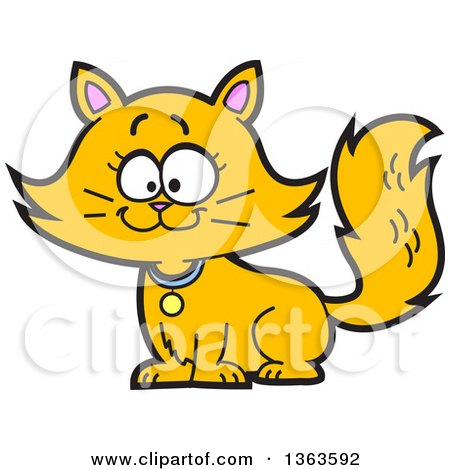 Clipart of a Cartoon Happy Long Haired Ginger Cat Sitting - Royalty Free Vector Illustration by Clip Art Mascots
