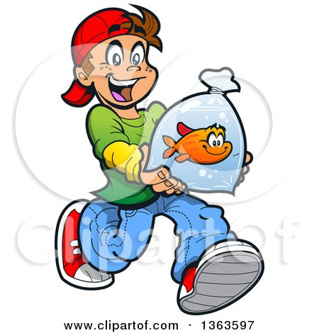 Clipart of a Cartoon Happy Brunette Caucasian Boy Running with a Pet Goldfish in a Bag - Royalty Free Vector Illustration by Clip Art Mascots