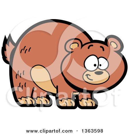 Clipart of a Cartoon Happy Brown Grizzly Bear Smiling - Royalty Free Vector Illustration by Clip Art Mascots