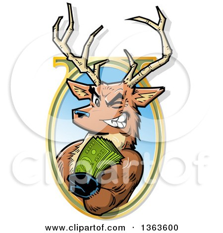 Clipart of a Cartoon Male Stag Deer Holding out Big Bucks and Emerging from an Oval Frame - Royalty Free Vector Illustration by Clip Art Mascots