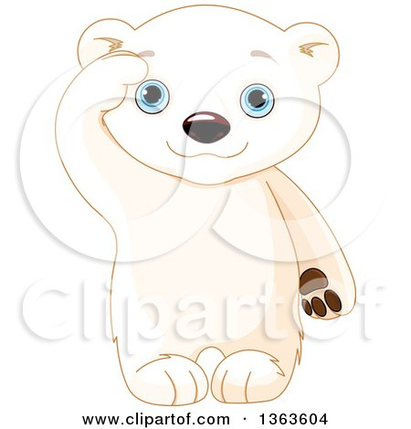 Clipart of a Cute Baby Polar Bear Cub Saluting - Royalty Free Vector Illustration by Pushkin