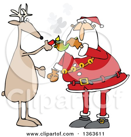Clipart of a Cartoon Christmas Reindeer Helping Santa Claus Light up to Smoke Pot with a Pipe - Royalty Free Vector Illustration by djart