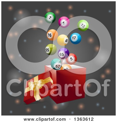 Clipart of a 3d Open Gift Box with Colorful Bingo Balls Floating Out, over Flares on Gray - Royalty Free Vector Illustration by elaineitalia