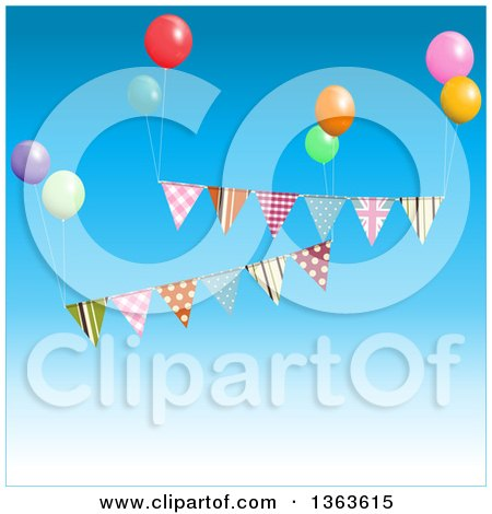 Clipart of 3d Party Ballons and Bunting Banners Floating in the Sky - Royalty Free Vector Illustration by elaineitalia