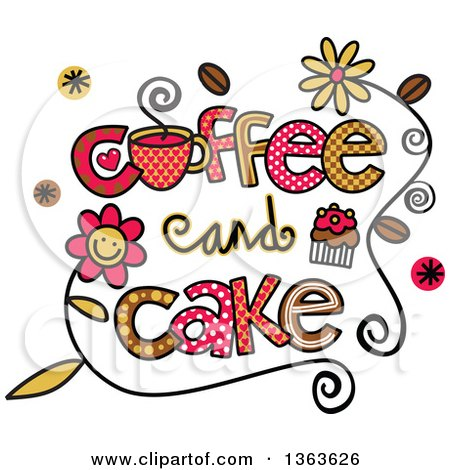 Clipart of Colorful Sketched Coffee and Cake Word Art - Royalty Free Vector Illustration by Prawny