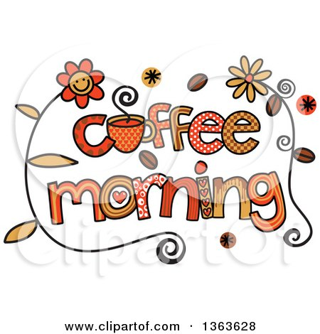 Clipart of Colorful Sketched Coffee Morning Word Art