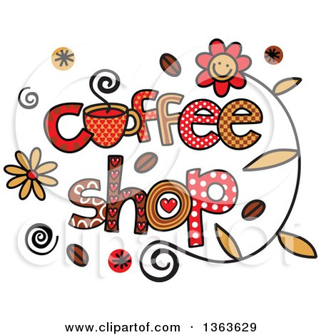 Clipart of Colorful Sketched Coffee Shop Word Art - Royalty Free Vector Illustration by Prawny