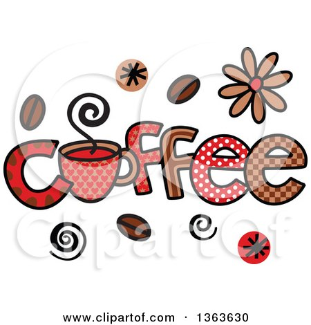 Clipart of Colorful Sketched Coffee Word Art - Royalty Free Vector Illustration by Prawny