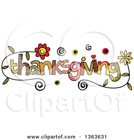 Clipart of Colorful Sketched Thanksgiving Word Art - Royalty Free Vector Illustration by Prawny