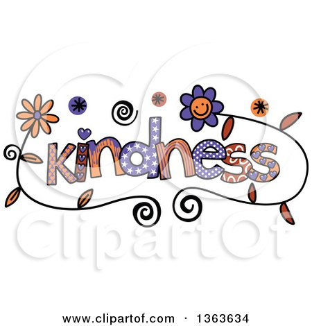 Clipart of Colorful Sketched Kindness Word Art - Royalty Free Vector Illustration by Prawny