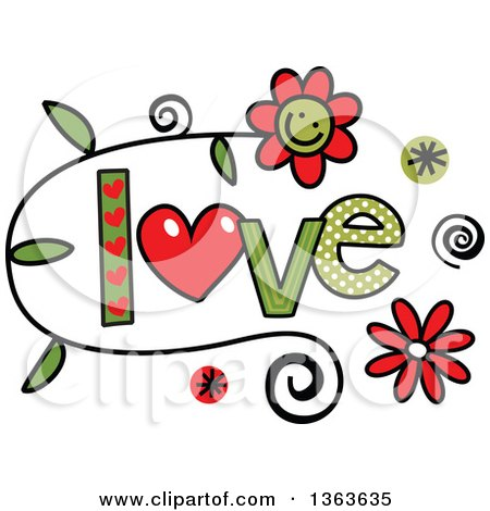Clipart of Colorful Sketched Love Word Art - Royalty Free Vector Illustration by Prawny