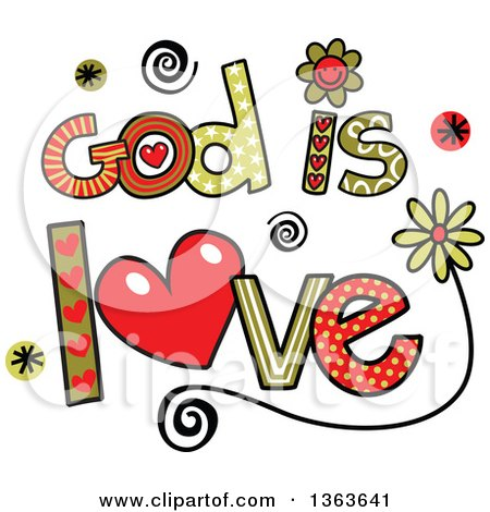 Clipart of Colorful Sketched God Is Love Word Art - Royalty Free Vector Illustration by Prawny