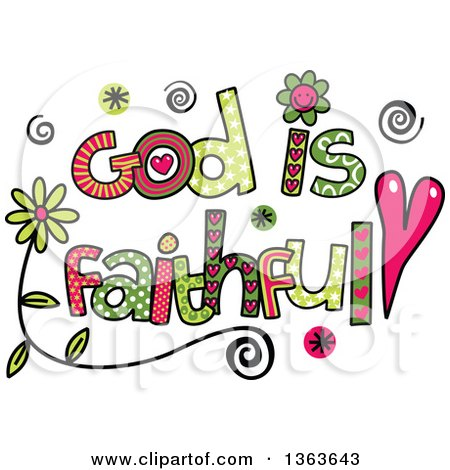 Clipart of Colorful Sketched God Is Faithful Word Art - Royalty Free Vector Illustration by Prawny
