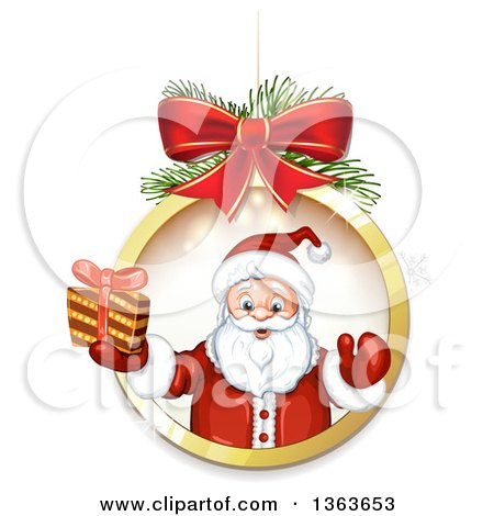 Clipart of Santa Claus Holding a Christmas Gift and Emerging Fom a Suspended Bauble Frame - Royalty Free Vector Illustration by merlinul