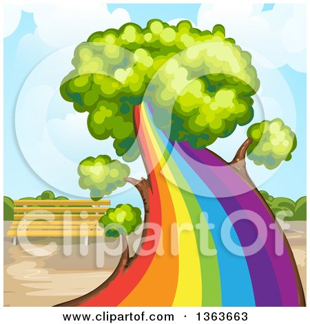 Clipart of a Tree with a Rainbow Trunk - Royalty Free Vector Illustration by merlinul