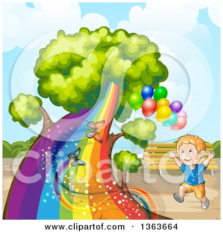Clipart of a Happy White Boy Running by a Tree with a Rainbow Trunk, Butterflies and Balloons in a Park - Royalty Free Vector Illustration by merlinul