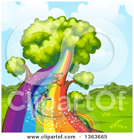 Clipart of a Tree with a Rainbow Trunk and Magical Butterflies - Royalty Free Vector Illustration by merlinul