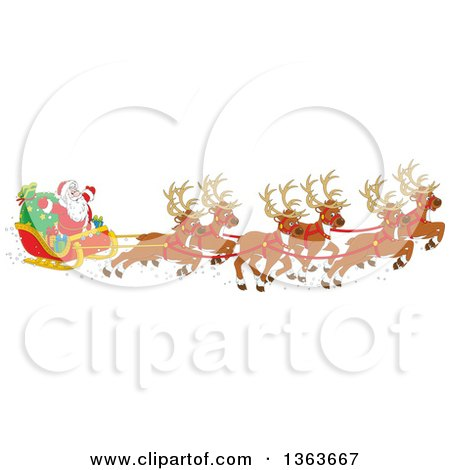 Clipart Of A Cartoon Team Of Magic Flying Reindeer And Santa In His Sleigh Royalty Free Vector Illustration