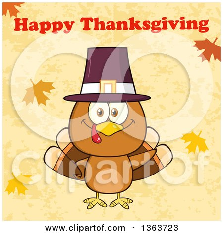 Clipart of a Cartoon Cute Thanksgiving Turkey Bird Wearing a Pilgrim Hat and Waving Under Happy Thanksgiving Text - Royalty Free Vector Illustration by Hit Toon