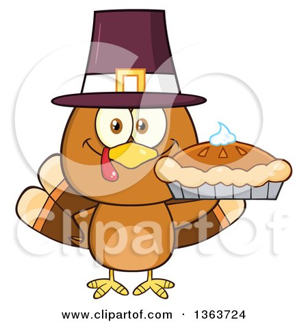 Clipart of a Cartoon Cute Thanksgiving Turkey Bird Wearing a Pilgrim Hat and Holding a Pie - Royalty Free Vector Illustration by Hit Toon