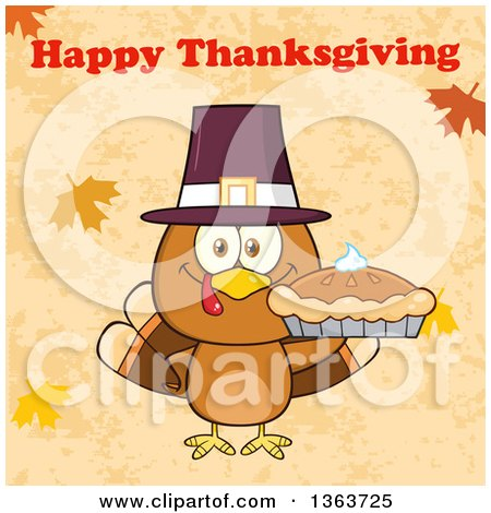 Clipart of a Cartoon Cute Turkey Bird Wearing a Pilgrim Hat and Holding a Pie Under Happy Thanksgiving Text - Royalty Free Vector Illustration by Hit Toon